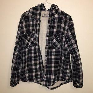 Boston Traders: medium black flannel fuzzy jacket